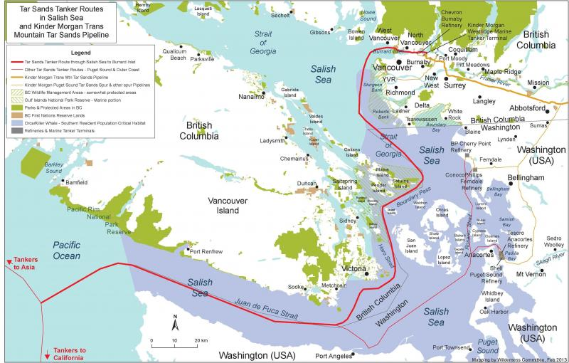 Tar sands tanker route in the Salish Sea. Source: Wilderness Committee.