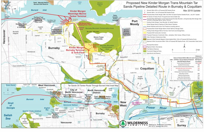 Map Of Burnaby Bc Kinder Morgan Pipeline Route Maps | Wilderness Committee