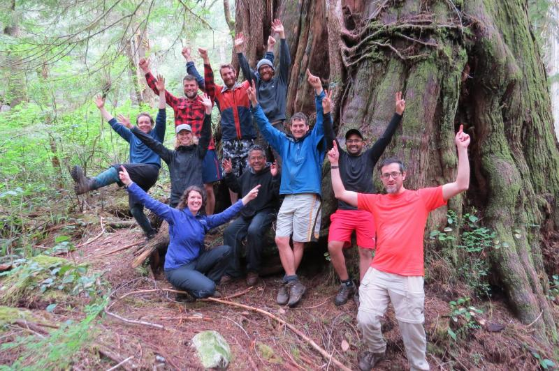 Volunteers in Wah-nuh-jus—Hilthoois Tribal Park (Meares Island), unceded Tla-o-qui-aht territory. Photo: Torrance Coste