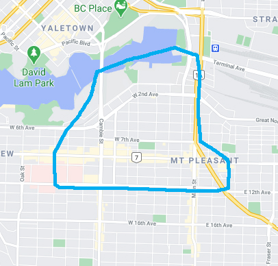 Map of Mount Pleasant with boundary around false creek in the north, main street to kingsway in the east, 12th ave in the south, and willow street in the west.