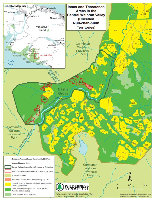 Intact and threatened areas in Central Walbran Valley