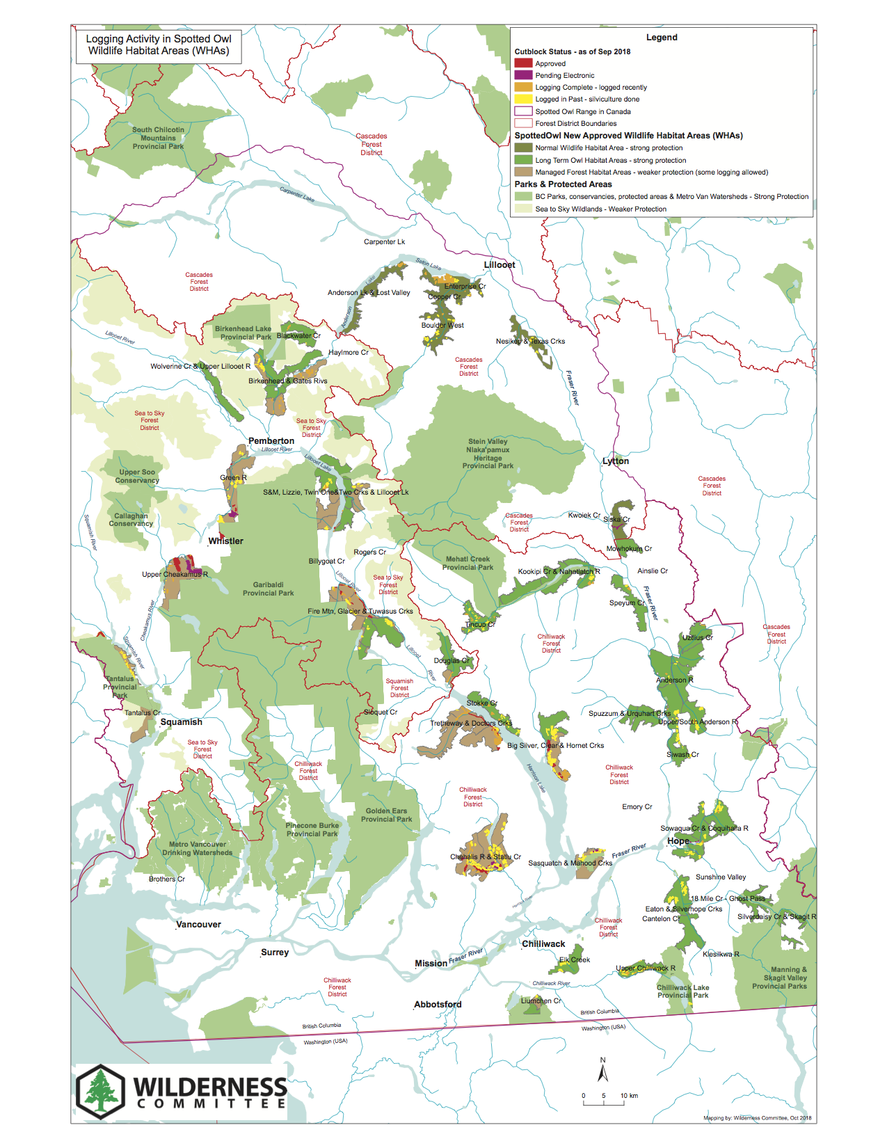 Map of logging in spotted owl habitat. B.C. has approved clear-cut logging in areas it set aside for spotted owl recovery at the same time as committing nearly $1.5 million to the experimental captive breeding program since 2014. Map: Wilderness Committee