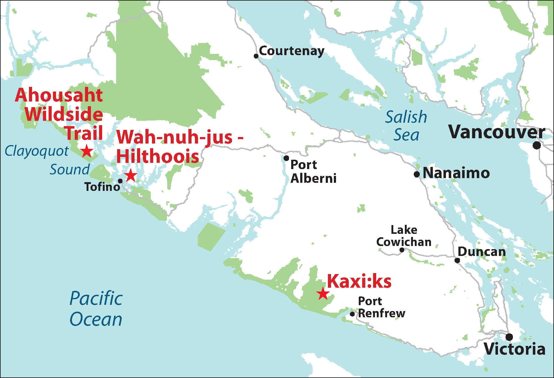 map of trail building locations on vancouver island