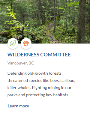 CanadaHelps Wilderness Committee entry page