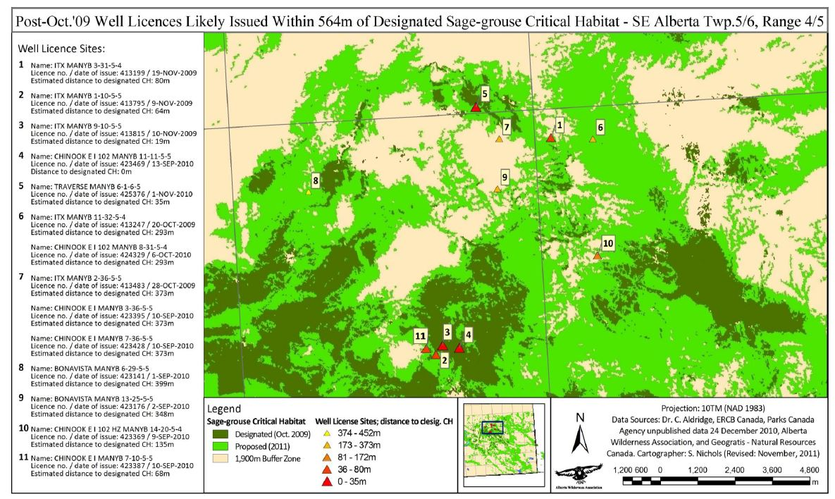Well licenses likely issued within 546 m of designated sage-grouse critical habitat