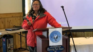 Photo: Sol Allison Former Xatsull (Soda Creek) Chief Bev Sellars speaking last week at the event in Manning Park