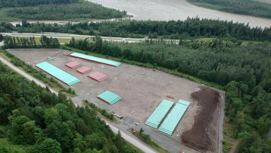Trans Mountain pipe storage area. Located between Chilliwack and Hope.