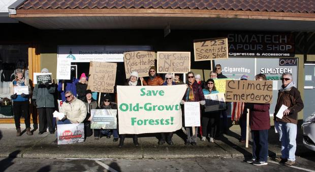 Approximately 25 people stood outside MLA Ronna-Rae Leonard's office earlier this year, asking government to impose a moratorium on old-growth forest logging. Photo by Jolene Rudisuela