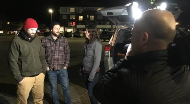 Torrance Coste, Mark Worthing and Emily Hoffpauir talk to media after the Campbell River forests talk was cancelled by the City