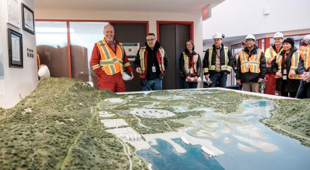 B.C. Premier John Horgan tours the site of the LNG Canada project in Kitimat, B.C., in January 2020. The proposed floating Cedar LNG facility is planned for a site adjacent to the LNG Canada export terminal. Photo: Province of B.C. / Flickr